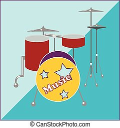 Drum kit on a two-tone background image in style flat