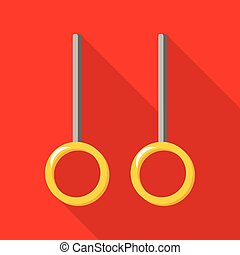 Gymnastic rings Icon with a long shadow on a red background...