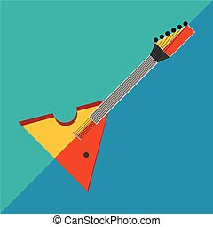Electric guitar on a two-tone background image in style flat