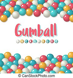 Gumball candies holiday background - Greeting card template...