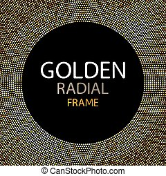 Vector gold disco lights frame or spangles round frame with empty center for text. Gold circle made of tiny uneven dots abstract background. Golden blobs textured round frame on black backdrop.