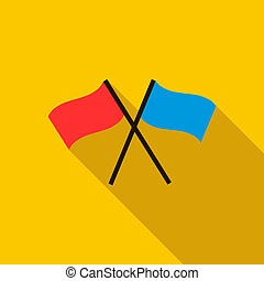Two crossed flags icon, flat style - Two crossed flags icon...