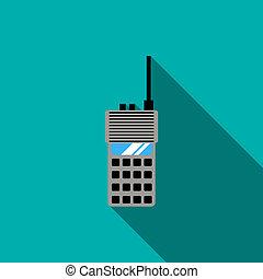 Portable radio transceiver icon, flat style - Portable radio...