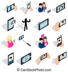 Selfie icons set, isometric 3d style - Selfie icons set in...