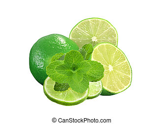Fresh green lime isolated on white