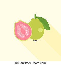 Guava icon - Guava with cross section illustration, Guava...