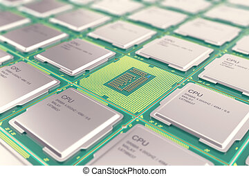 Modern central computer processors CPU, industry concept...