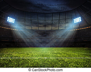 Soccer football stadium with floodlights - Sport concept...