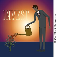 Vector Flat Business Concept - Flat style invest concept web...
