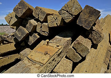 Stack of railroad ties - A huge pile of stacked railroad...