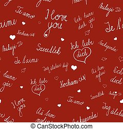 Seamless pattern with I love you text in various languages