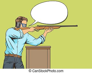 Man with rifle at shooting range pop art vector - Man with...