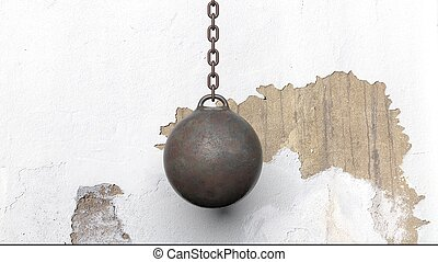 Metallic rusty wrecking ball on chain, with old wall. 3D...