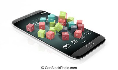 3D rendering of cubes with domain names, on smartphone's...