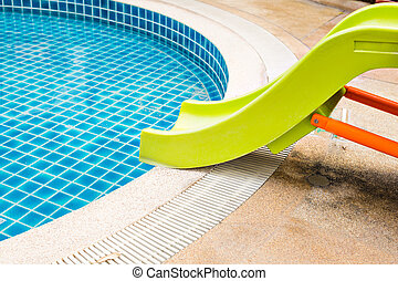 Colorful waterslides in the children's pool