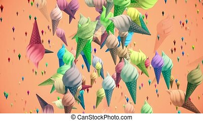 Flying ice creams in various colors