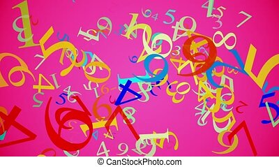 Falling numbers in various colors on pink
