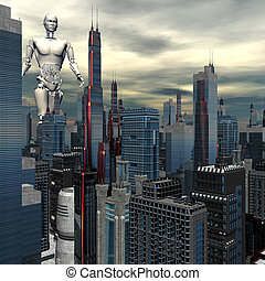 android in skyscrapers landscape