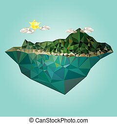 Island mountain low poly style