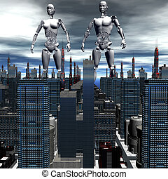 android in skyscrapers landscape - android, cybernetic...