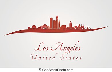 Los Angeles skyline in red and gray background in editable...