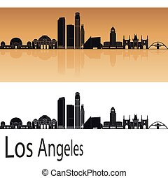 Los Angeles skyline in orange background in editable vector...