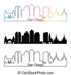San Diego skyline linear style with rainbow in editable...