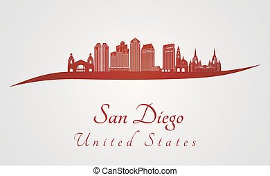 San Diego skyline in red and gray background in editable...