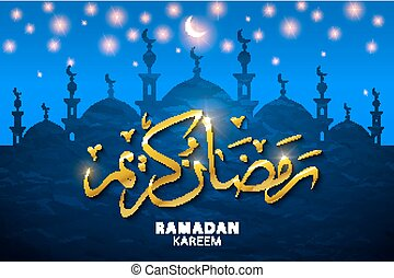 Ramadan kareem with silhouette mosque. Vector