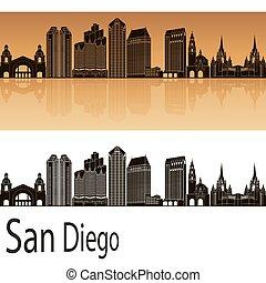 San Diego skyline in orange