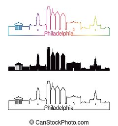 Philadelphia V2 skyline linear style with rainbown -...