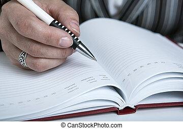 lavoro, scritto, donna, preparare