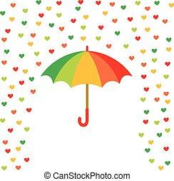 Umbrella and rain of colored hearts