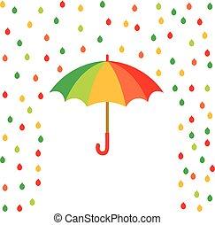 Umbrella and rain drops of color