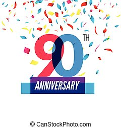 Anniversary design 90th icon anniversary Colorful...