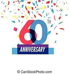 Anniversary design 60th icon anniversary Colorful...