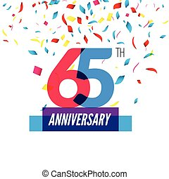 Anniversary design. 65th icon anniversary. Colorful...