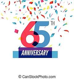 Anniversary design. 65th icon anniversary. Colorful...