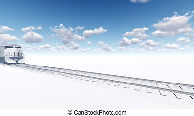 Abstract freight train 3D animation - Abstract white freight...