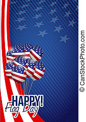 happy flag day us balloons background
