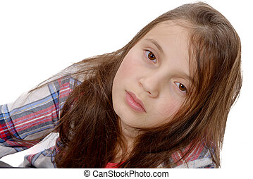 portrait of preteen girl isolated on white