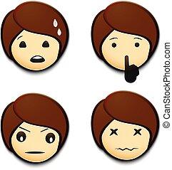 Emojis set. - Emojis worried, angry, hushing, hurt.