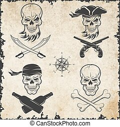 Emblems of skulls on the pirate theme.