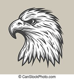 Eagle head in profile. - Eagle head in profile Line style....