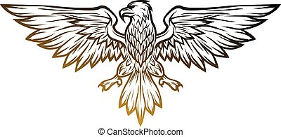 Eagle mascot spread wings. Vector illustration. Line art...