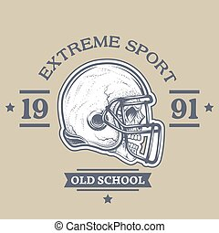 American football poster, emblem. The helmet and the skull...
