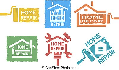 A set of emblem on the topic of home repair. - A set of...