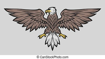 Eagle mascot spread wings. Color version.
