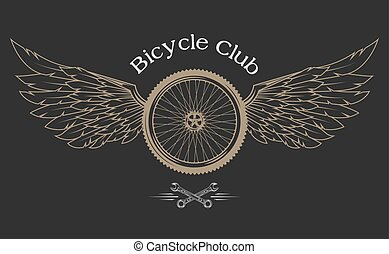 Bicycle Wheel emblem. - Bicycle Wheel, feathers, wings...