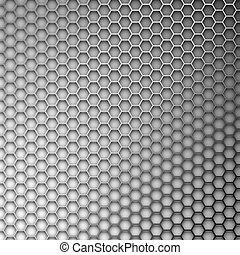 Abstract background. Hexagons in the form of a metal lattice.